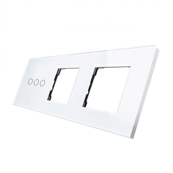 Rama sticla pentru intrerupator cu touch triplu+modul priza dublu Smart Home 1