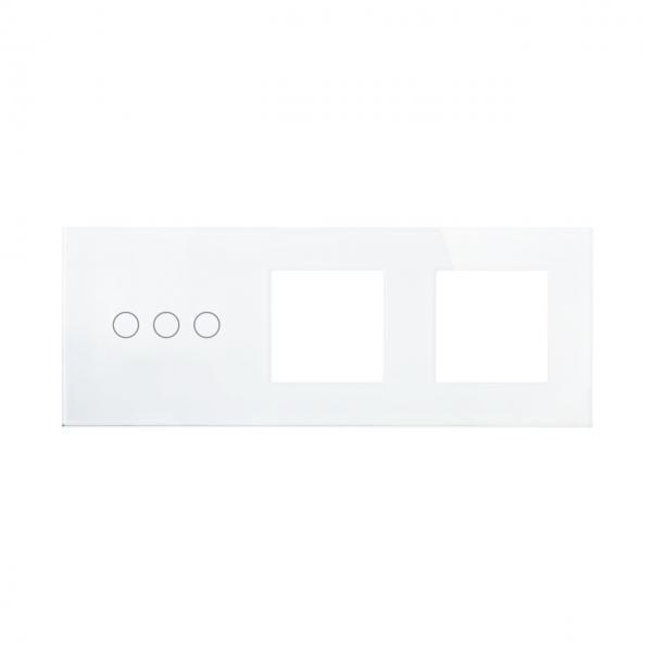 Rama sticla pentru intrerupator cu touch triplu+modul priza dublu Smart Home 3