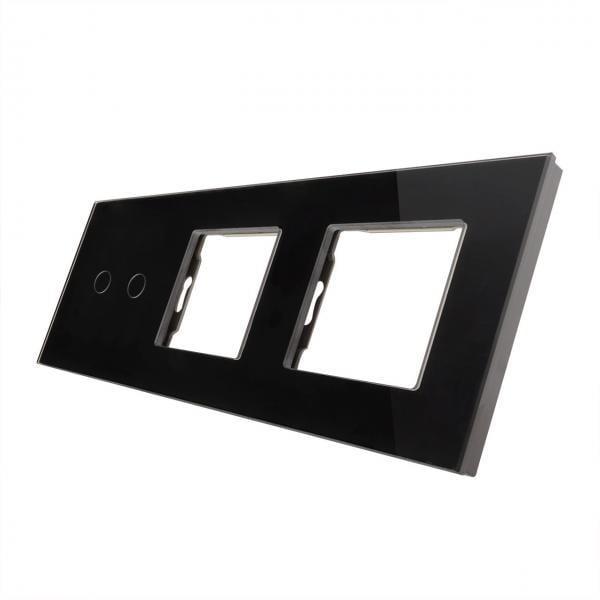 Rama sticla pentru intrerupator cu touch dublu + modul priza dublu, Smart Home 2
