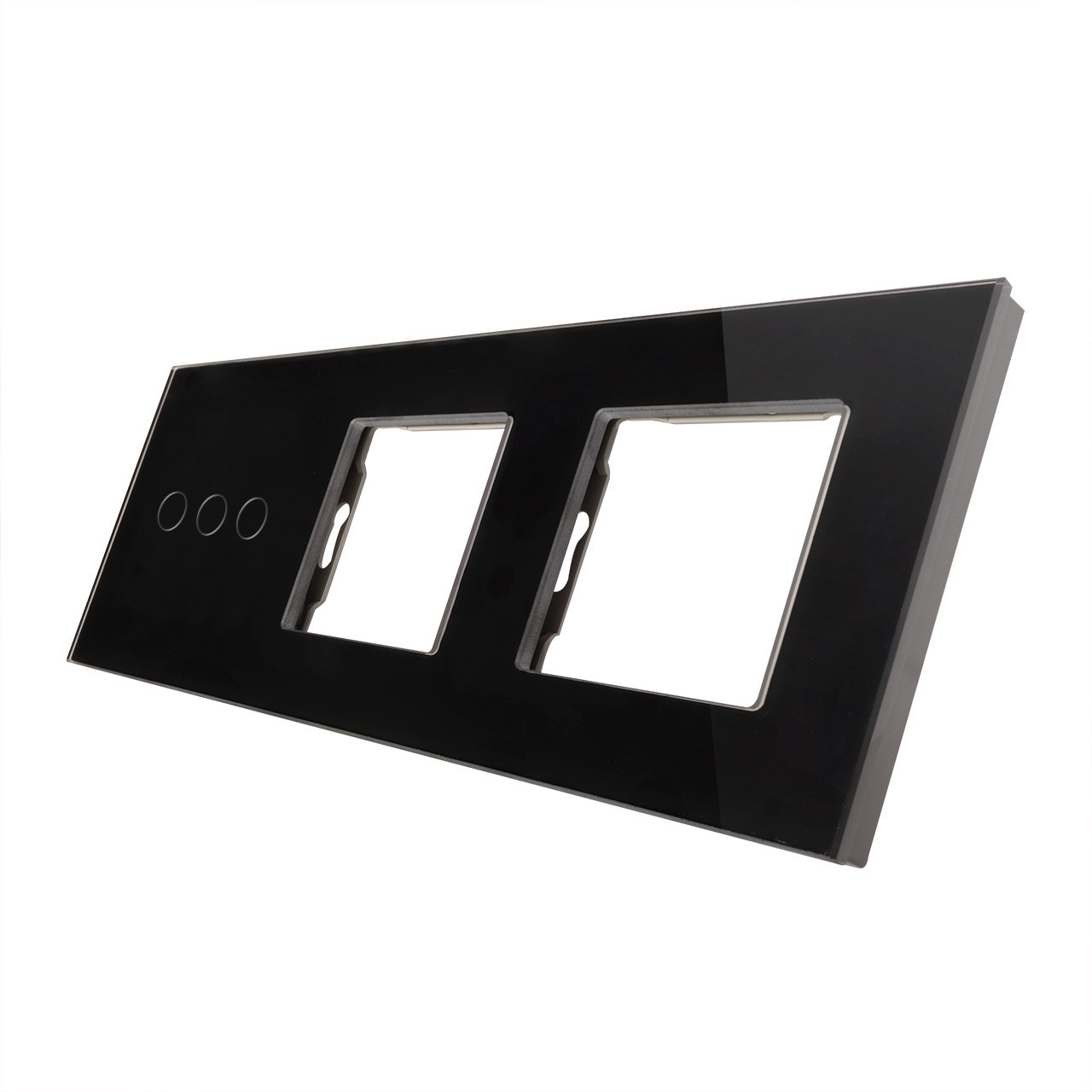 Rama sticla pentru intrerupator cu touch triplu+modul priza dublu Smart Home