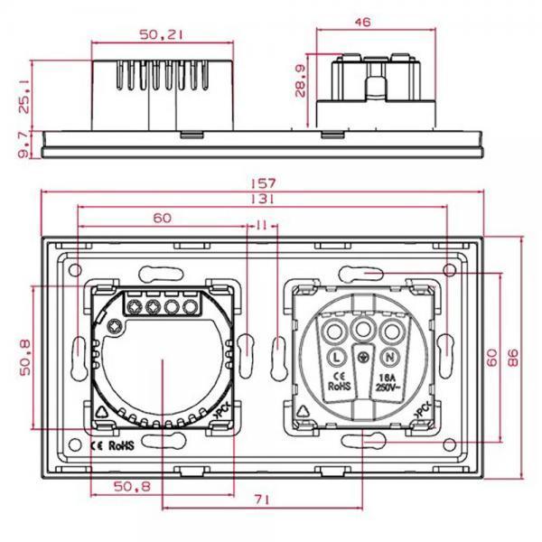 Priza Schuko + Intrerupator cu touch dublu cap scara / cap cruce, rama de sticla, Smart Home 4