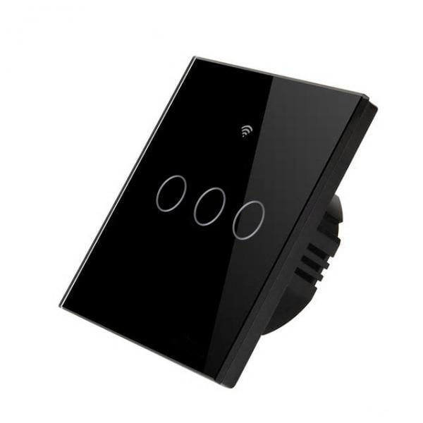 Intrerupator inteligent triplu cu touch, WiFi si panou tactil din sticla Seria 3 3