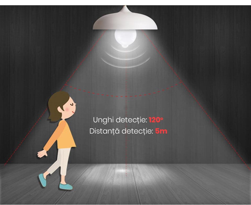 Bec LED cu senzor de miscare si detectie zi/noapte, 7W 9