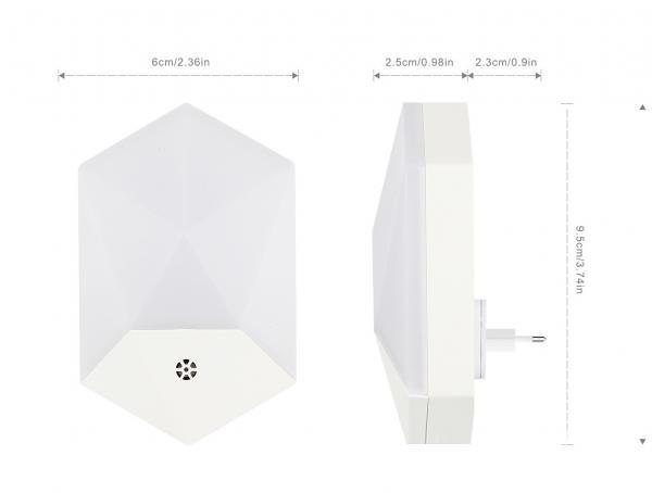 Lampa de veghe LED cu senzor de lumina, montare la priza, lumina calda 2