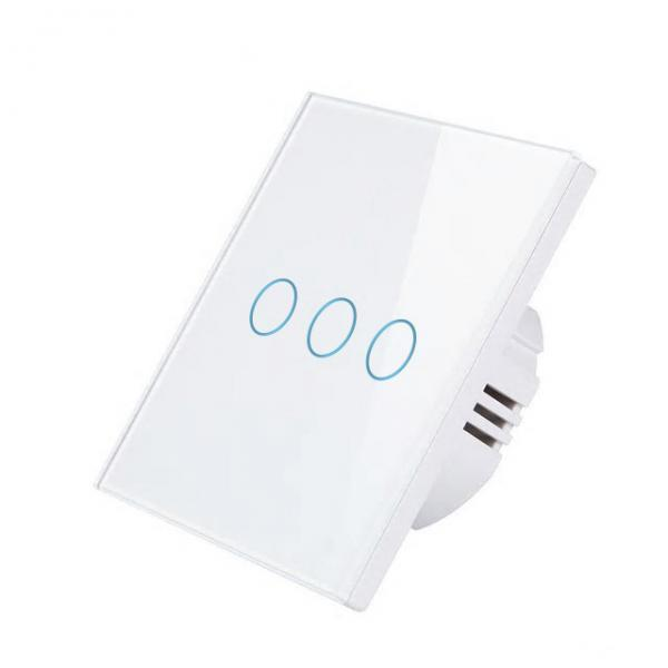Intrerupator Wireless RF triplu cu touch, panou tactil de sticla, Smart Lighting Switch 37