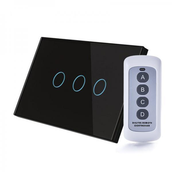 Intrerupator RF, standard italian, triplu cu touch, panou de sticla, cu telecomanda 26