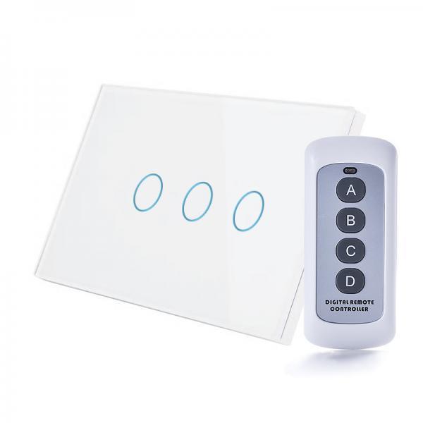 Intrerupator RF, standard italian, triplu cu touch, panou de sticla, cu telecomanda 1