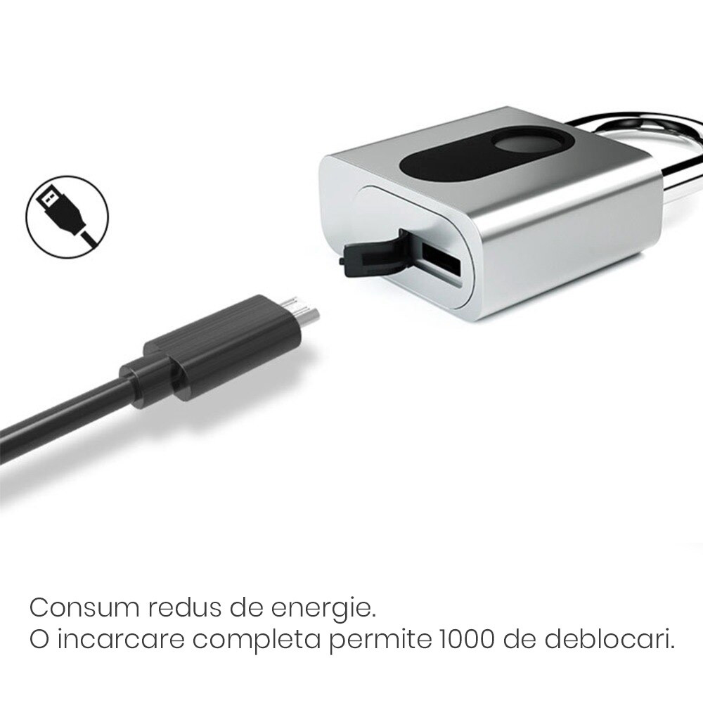 Lacat inteligent cu amprenta, din otel inoxdabil, rezistent la apa/umezeala, IP65 12