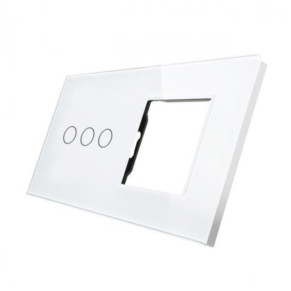 Rama sticla pentru intrerupator cu touch triplu + modul priza simplu, Smart Home 36