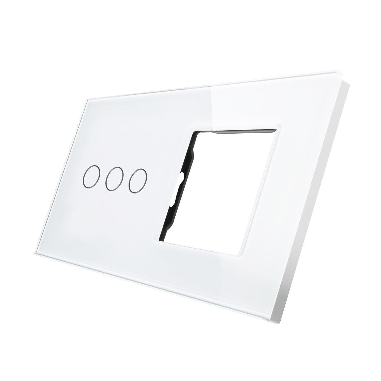 Rama sticla pentru intrerupator cu touch triplu + modul priza simplu Smart Home