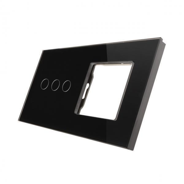 Rama sticla pentru intrerupator cu touch triplu + modul priza simplu Smart Home 2