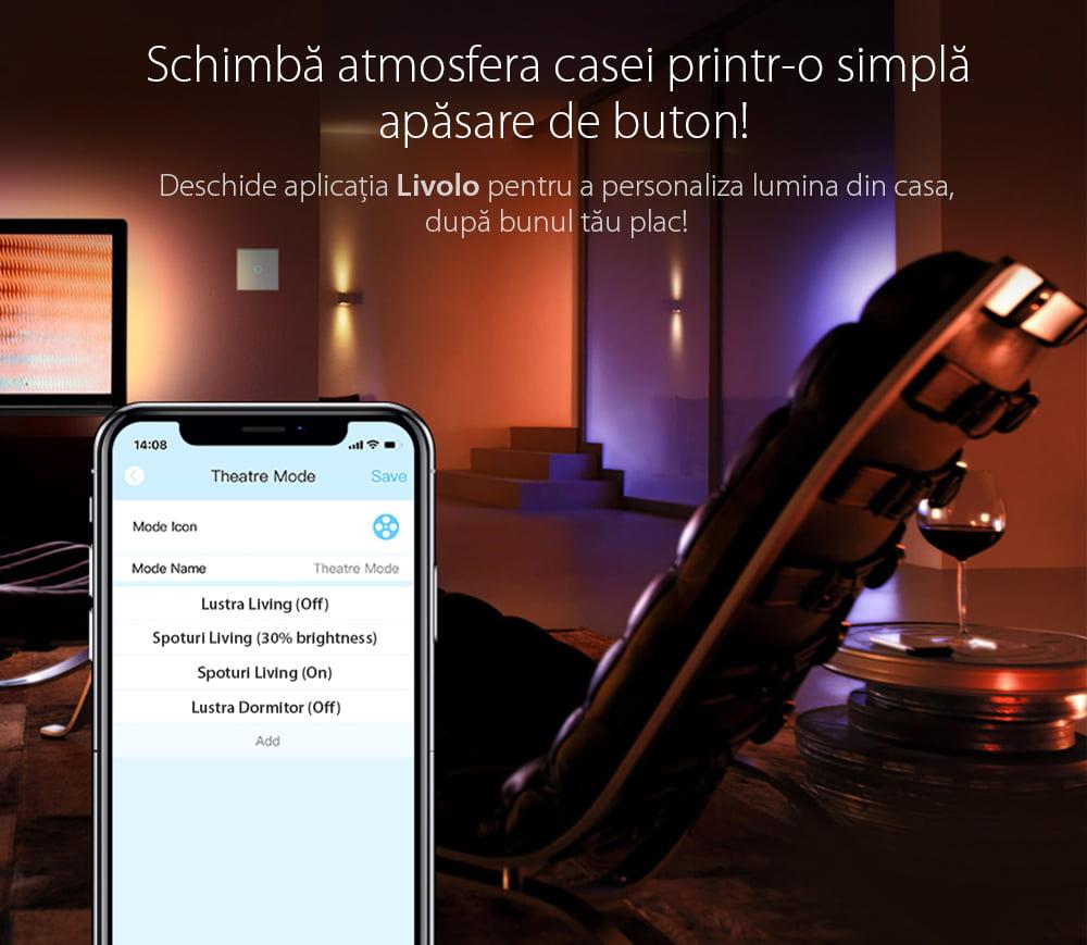 Intrerupator touch wireless cu protocol Zigbee, panou tactil din sticla, Livolo 47