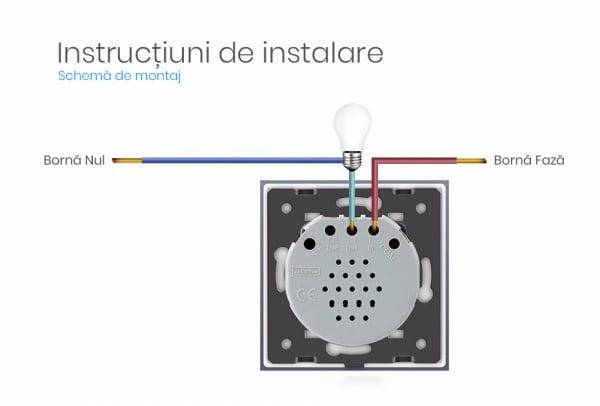 Intrerupator touch wireless RF cu panou tactil din sticla + telecomanda inclusa, Livolo 18
