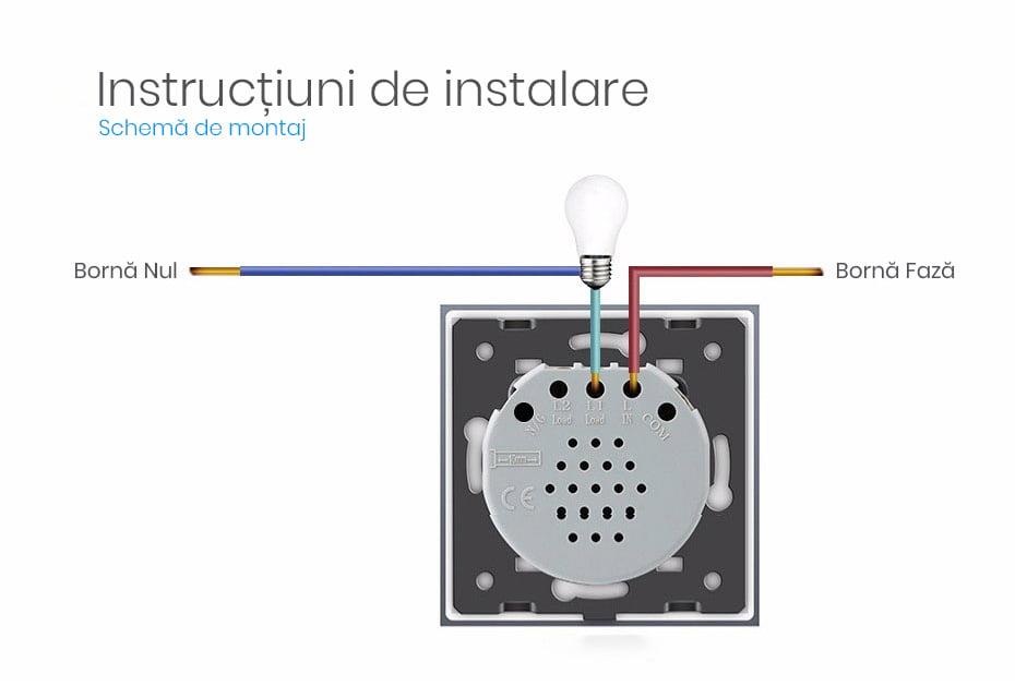 Intrerupator touch wireless RF cu panou tactil din sticla + telecomanda inclusa, Livolo 46