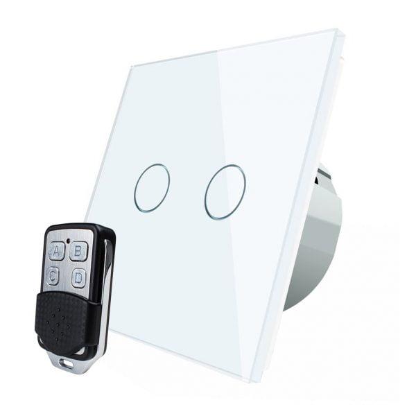 Intrerupator touch wireless RF cu panou tactil din sticla + telecomanda inclusa, Livolo 11