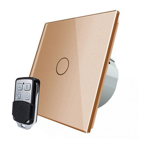 Intrerupator touch wireless RF cu panou tactil din sticla + telecomanda inclusa, Livolo 12