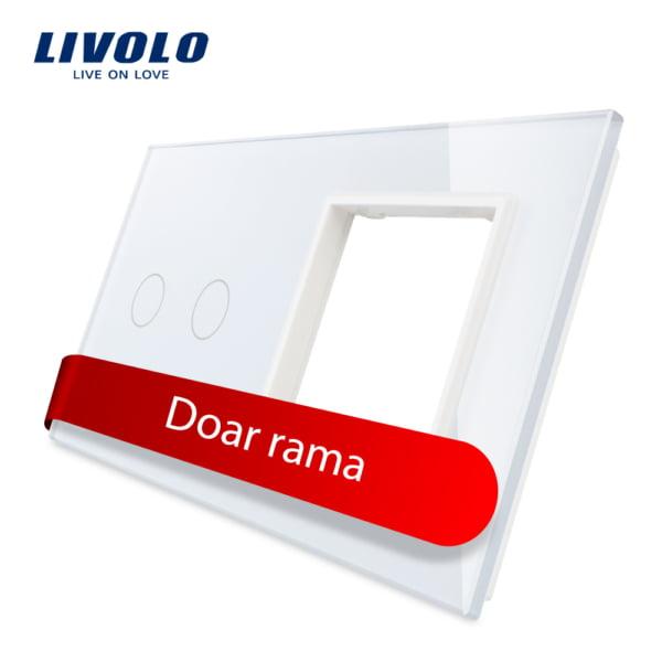 Rama sticla pentru intrerupator cu touch dublu + modul priza simplu, Livolo 5