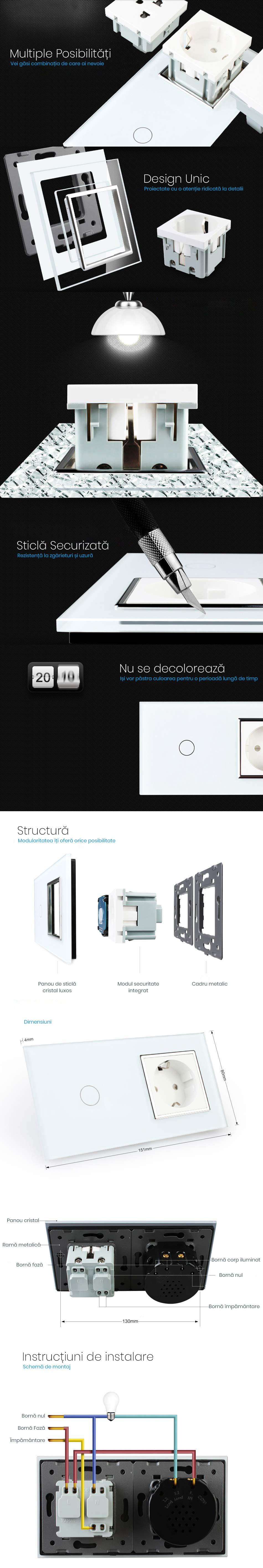 Rama sticla pentru intrerupator cu touch simplu + modul priza simplu, Livolo 27