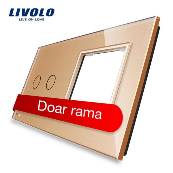 Rama sticla pentru intrerupator cu touch dublu + modul priza simplu, Livolo 3