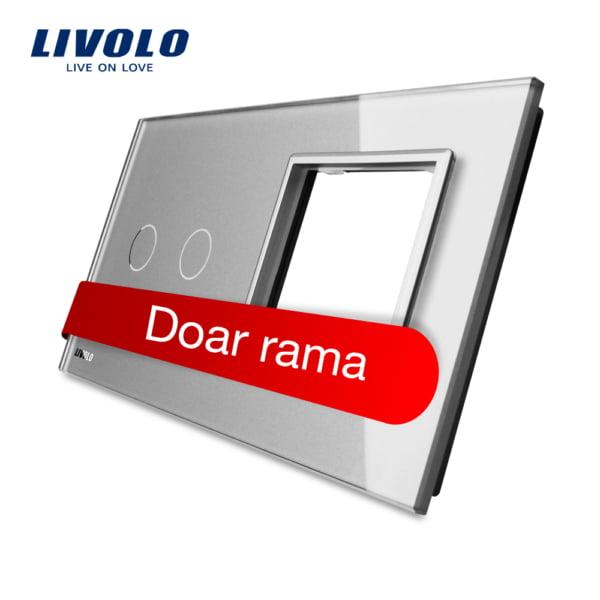 Rama sticla pentru intrerupator cu touch dublu + modul priza simplu, Livolo 1