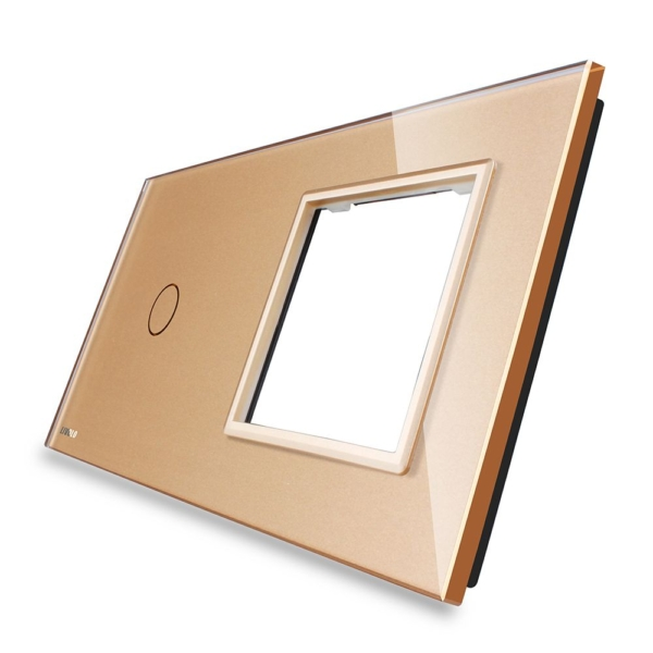 Rama sticla pentru intrerupator cu touch simplu + modul priza simplu, Livolo 3