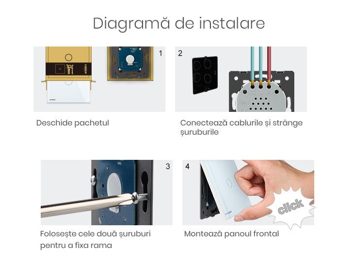 Intrerupator touch wireless RF cu panou tactil din sticla + telecomanda inclusa, Livolo 47