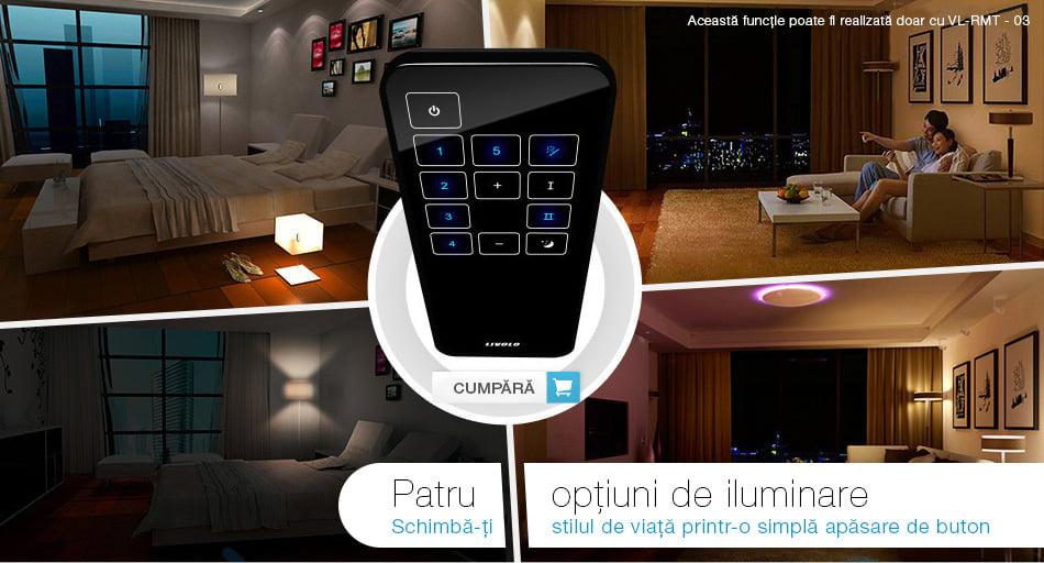 Intrerupator touch wireless RF cu panou tactil din sticla + telecomanda inclusa, Livolo 45