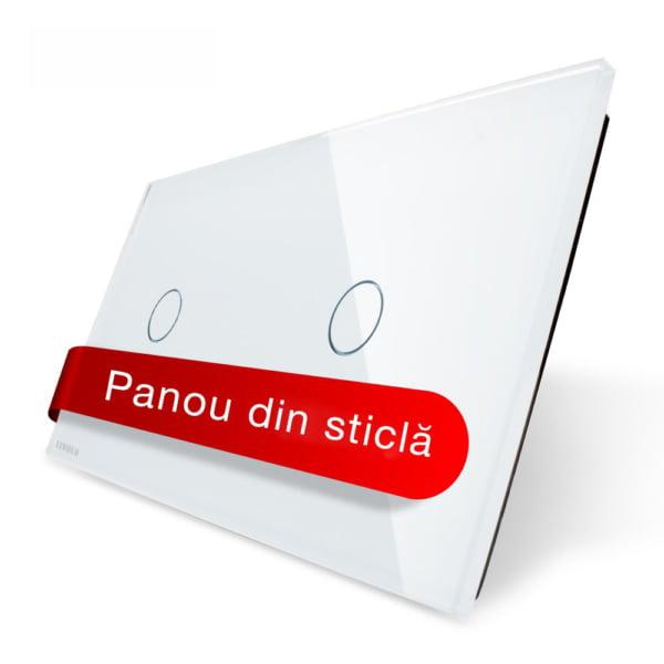 Panou intrerupator simplu + simplu cu touch, din sticla, Livolo 1