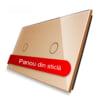 Panou intrerupator simplu + simplu cu touch, din sticla, Livolo 12
