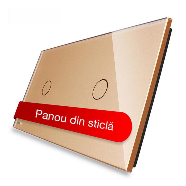 Panou intrerupator simplu + simplu cu touch, din sticla, Livolo 3