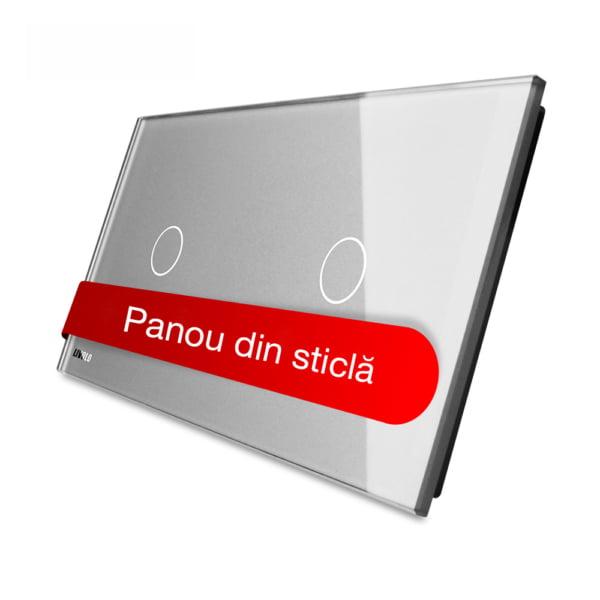 Panou intrerupator simplu + simplu cu touch, din sticla, Livolo 4
