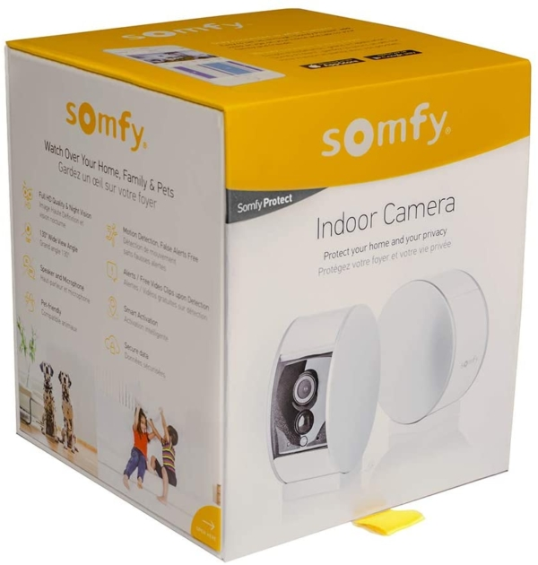 Camera Video HD de interior Somfy Protect, Vedere pe timp de noapte, Zoom de 8x, Compatibil cu TaHoma, Amazon Alexa, IFTTT si Works With Nest 3