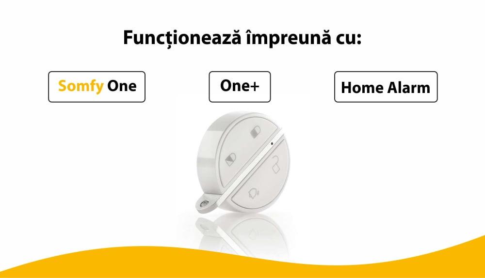 Telecomanda Somfy pentru alarma portchei, Compatibil cu Somfy One, One+, Somfy Home Alarm 30