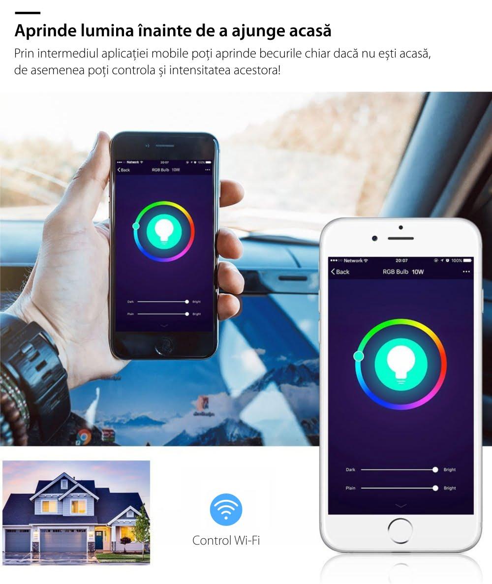 Bec inteligent LED multicolor RGB variator Wi-Fi rotund Red Sun, control de pe aplicatie mobila – RS-SW-LB-A21 14