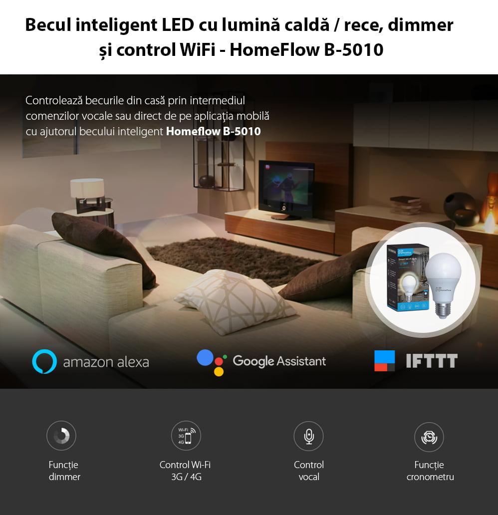 Bec inteligent LED Wi-Fi Homeflow B-5010, E27, 9W (25W), 806lm, dimabil, lumina calda/ rece, Control de pe telefonul mobil 9