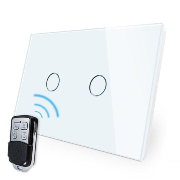 Intrerupator cu touch wireless RF, standard italian, panou de sticla, telecomanda inclusa, Livolo 4
