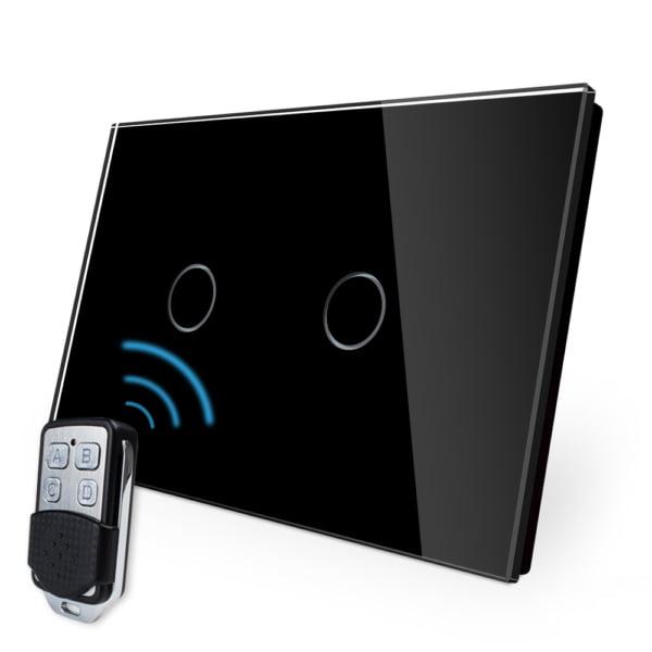 Intrerupator cu touch wireless RF, standard italian, panou de sticla, telecomanda inclusa, Livolo 3