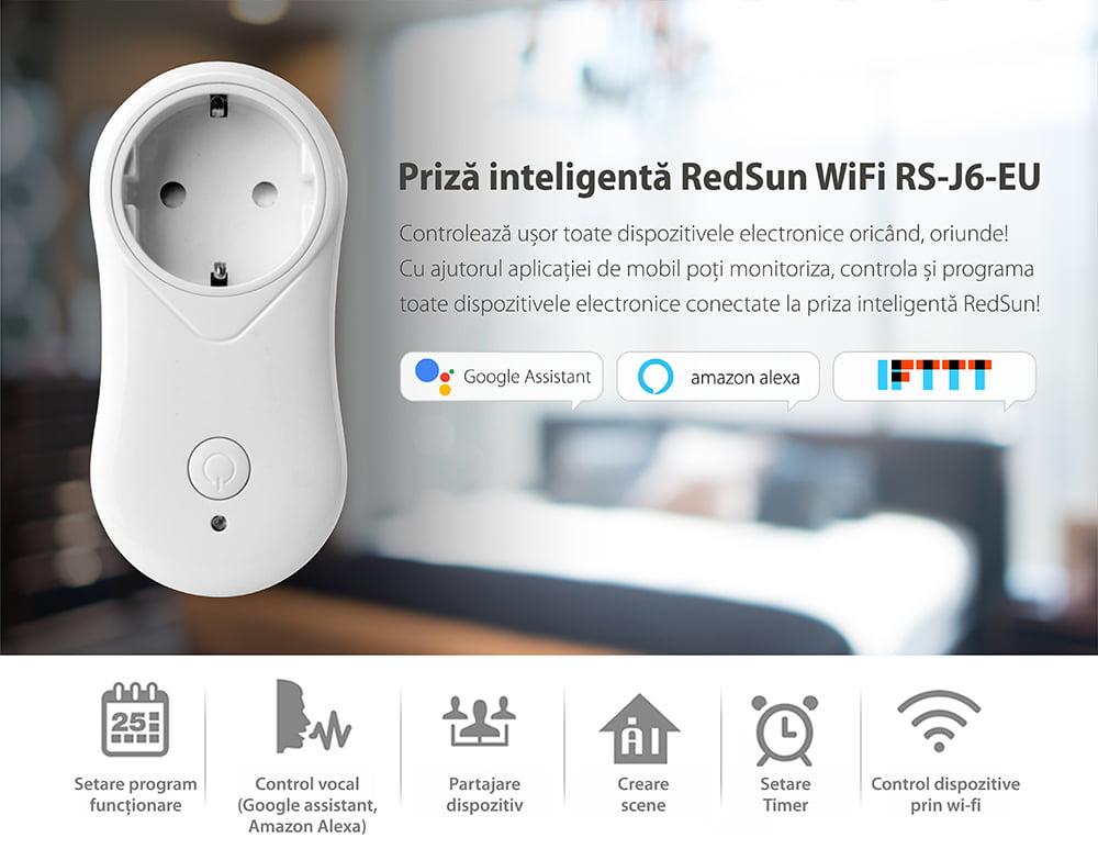 Priza inteligenta RedSun EU RS-J6 cu port USB, compatibil Alexa si Google Home, Control de pe telefonul mobil 18
