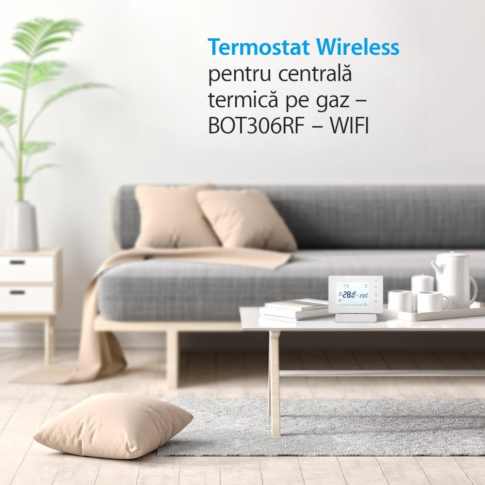 Termostat Wi-Fi pentru centrala termica pe gaz si incalzire in pardoseala cu agent termic BeOk BOT306RF-WIFI, Programabil, Memorare setari, Anti-inghet, Control de pe telefonul mobil 12