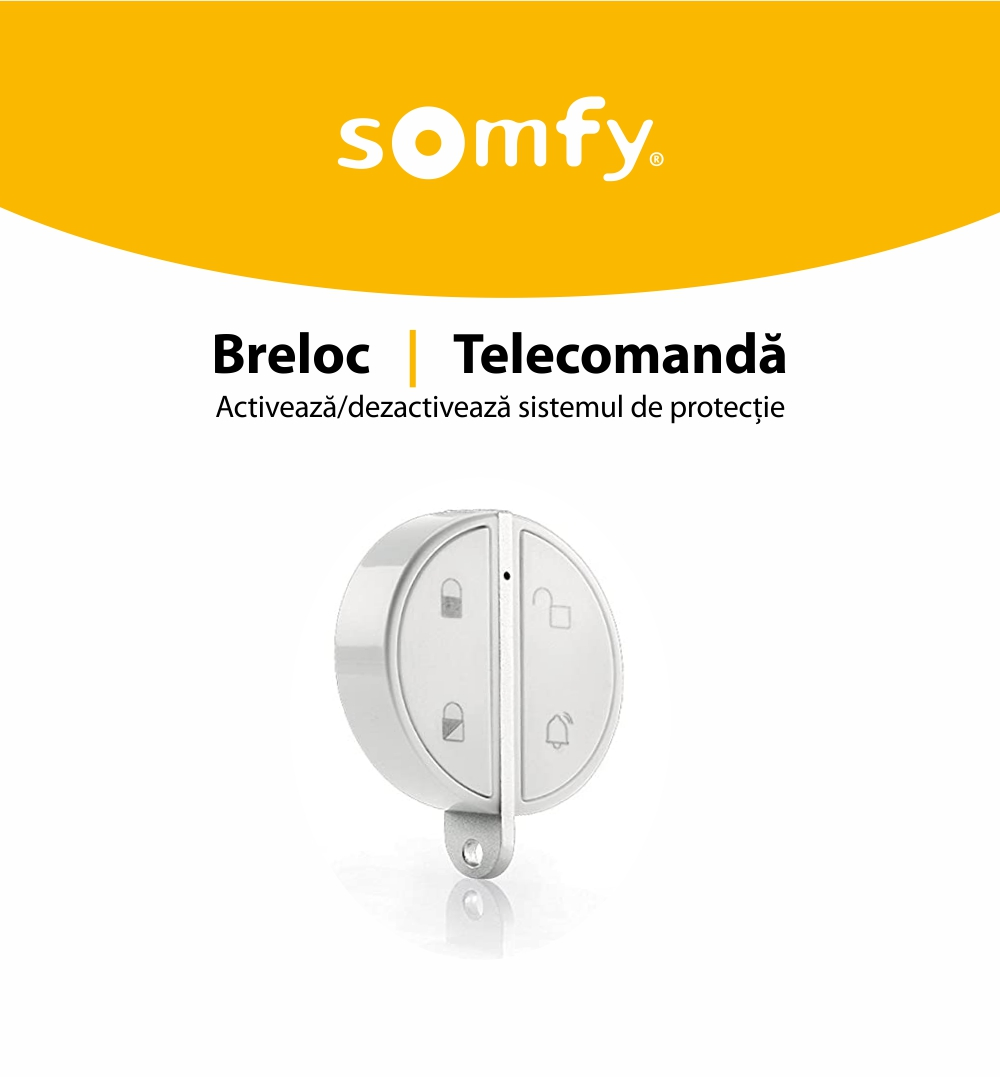 Telecomanda Somfy pentru alarma portchei, Compatibil cu Somfy One, One+, Somfy Home Alarm 29