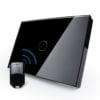 Intrerupator cu touch wireless RF, standard italian, panou de sticla, telecomanda inclusa, Livolo 9