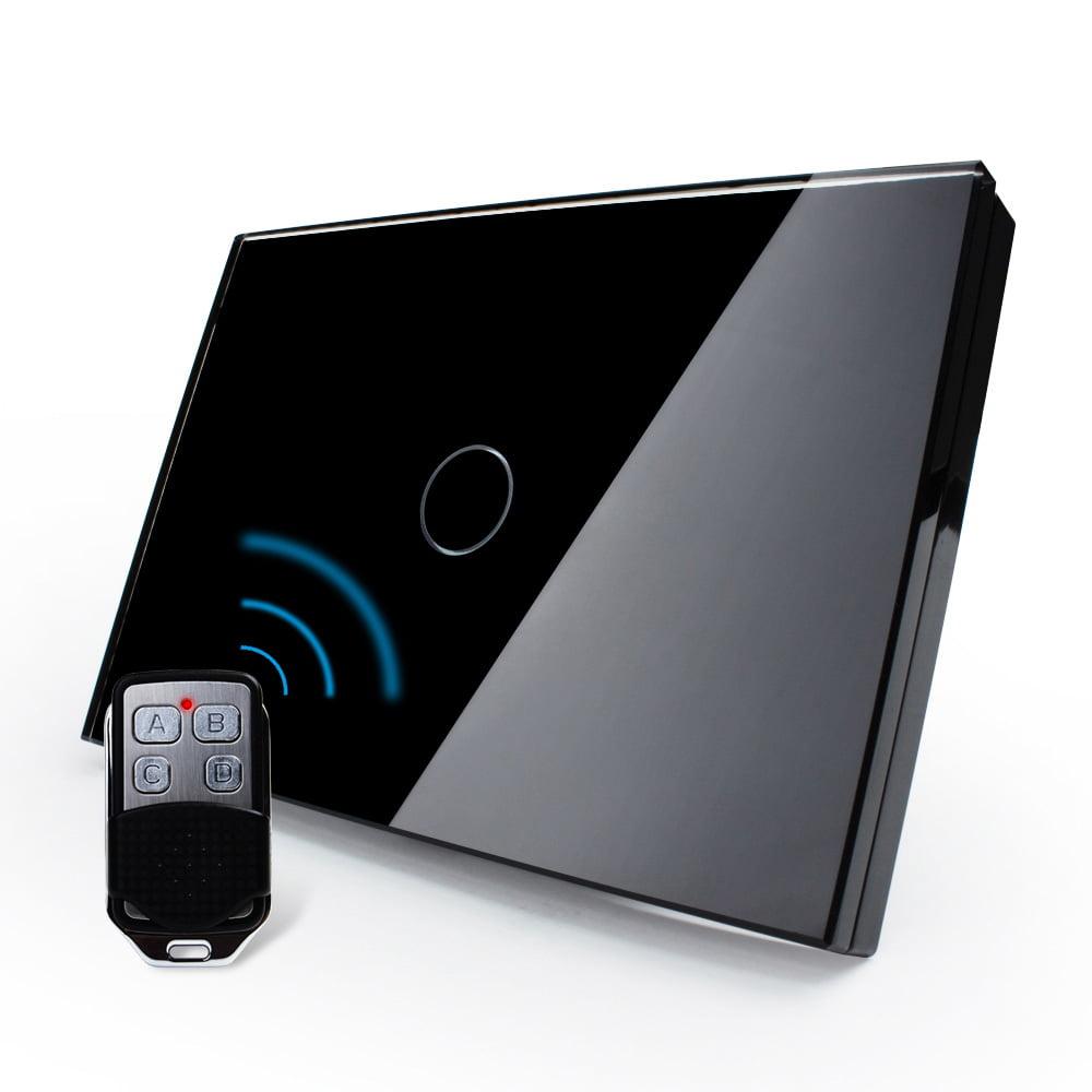 Intrerupator cu touch wireless RF, standard italian, panou de sticla, telecomanda inclusa, Livolo