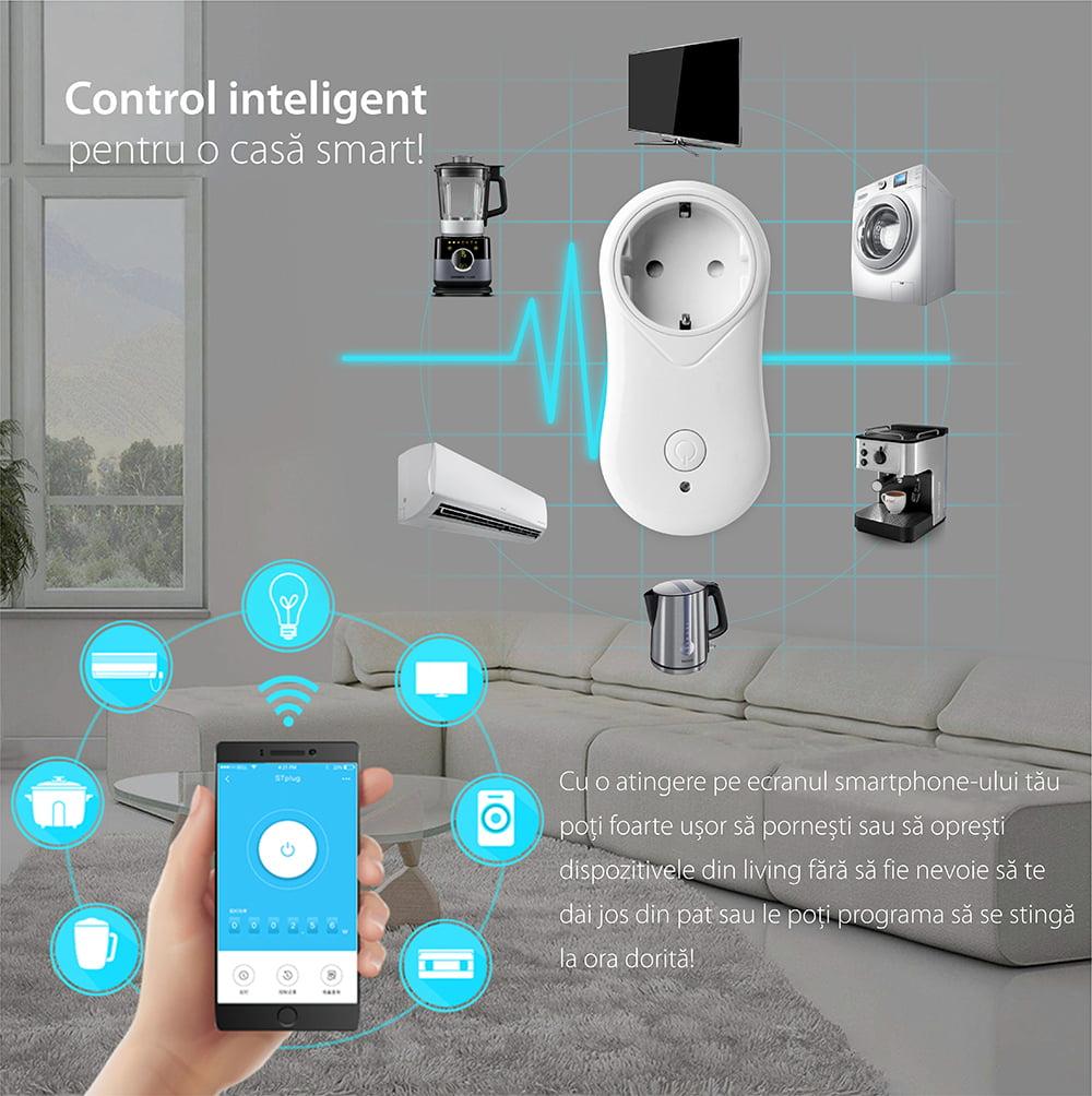 Priza inteligenta RedSun EU RS-J6 cu port USB, compatibil Alexa si Google Home, Control de pe telefonul mobil 17