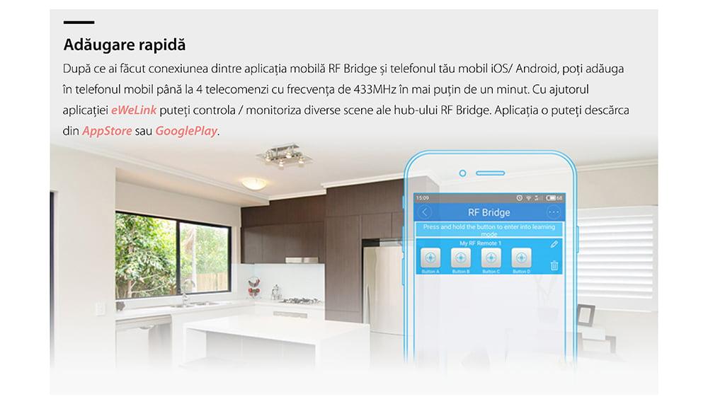 Hub inteligent Bridge RF Sonoff 433 Mhz 20