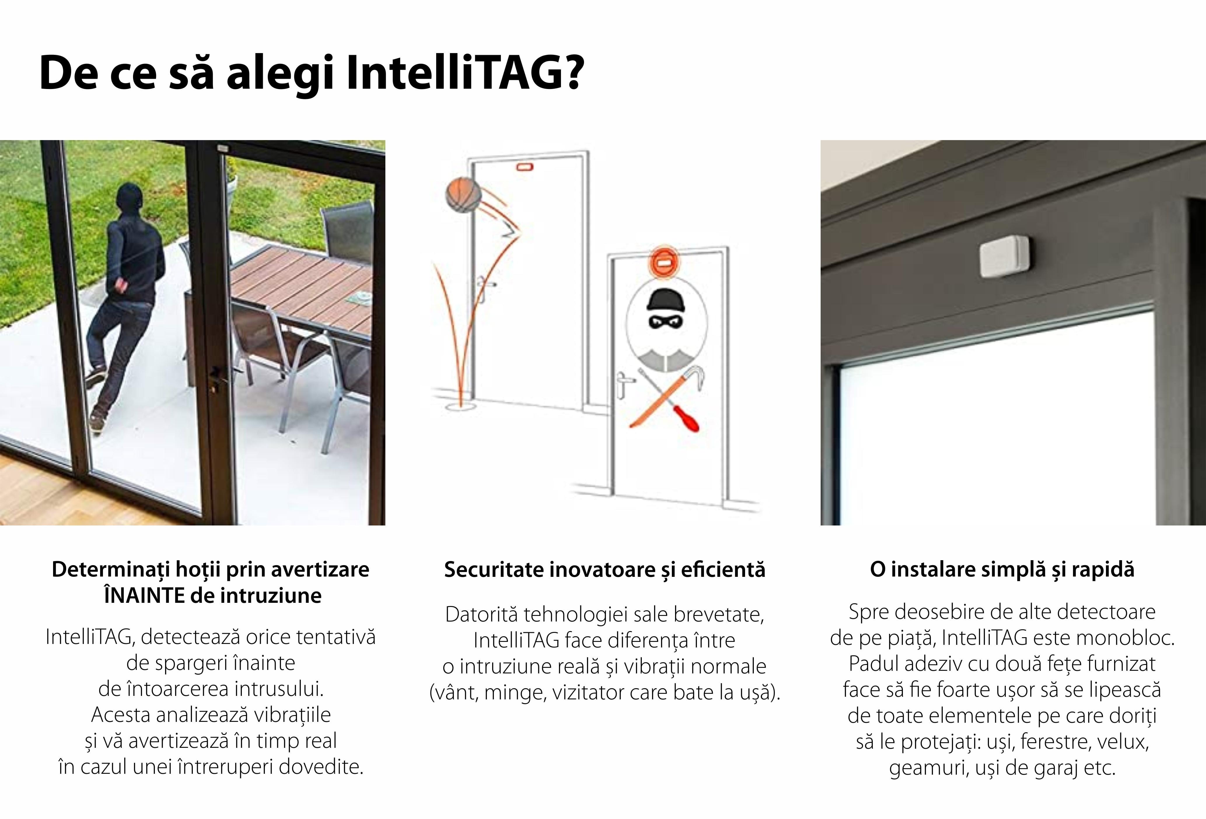 Intellitag™ Senzor pentru usa/fereastra interior sau exterior, Compatibil cu Somfy One, One+, Home Alarm 19