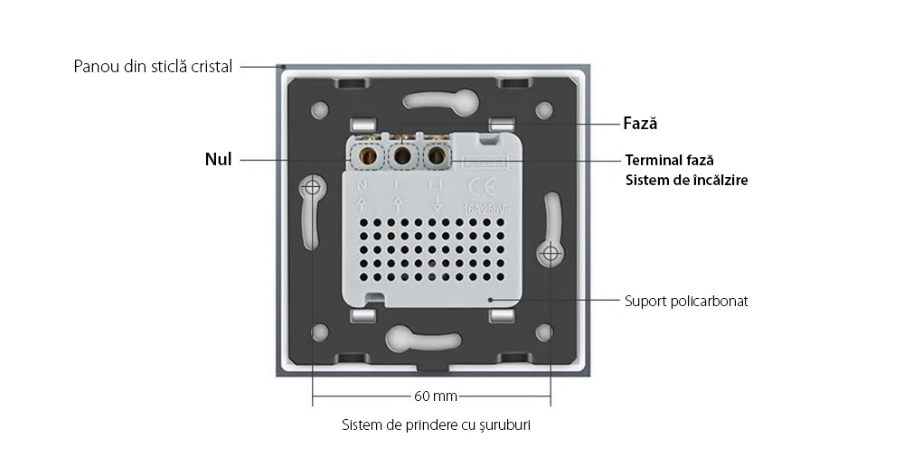 Termostat Livolo cu fir pentru sisteme de incalzire electrice 18