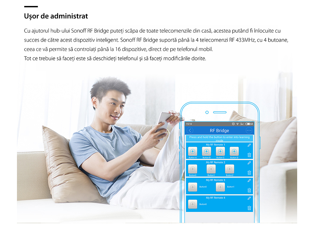 Hub inteligent Bridge RF Sonoff 433 Mhz 18