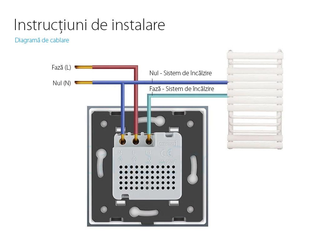 Termostat Livolo cu fir pentru sisteme de incalzire electrice 17