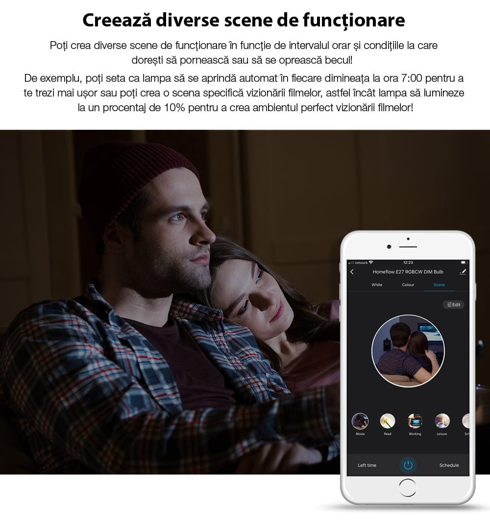Bec inteligent LED Wi-Fi Homeflow B-5007, E14, 4.5W (25W), 400lm, dimabil, filament, lumina calda, Control de pe telefonul mobil 7