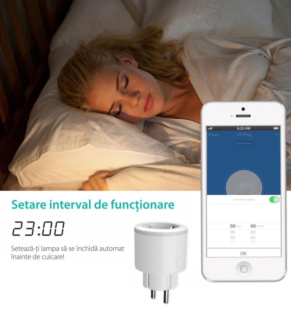 Priza inteligenta RedSun Wi-Fi cu monitorizare de energie si indicator led, Control de pe telefonul mobil 13